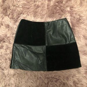 Leather/suede black mini skirt